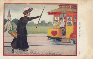 Miss Passe just missed The Last Car of Matrimonial Line to Bliss Ave.,1900-10s