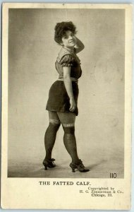 Chicago, Illinois Comic Postcard THE FATTED CALF Girl Woman / 1907 Cancel