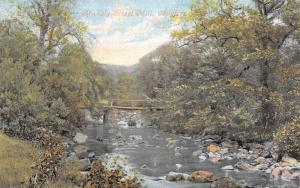 Chagford Devon UK~Hotly Street Mill Footbridge~Boulders in Stream~1908 Postcard