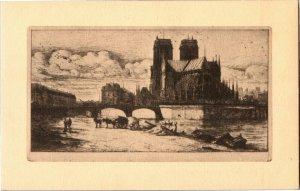 Artist Charles Meryon, The Abside of Notre Dame Vintage Postcard T18