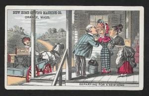 VICTORIAN TRADE CARD New Home Sewing Machine Salesman Leaves