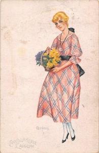 Lady Woman Fashion, Grimm, Chocolaterie L'Aiglon Advertising 1921