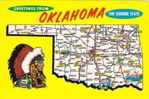 Map Of Oklahoma Greetings From Oklahoma The Sooner State