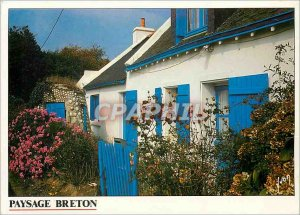 Modern Postcard Breton Landscape Breton house with white walls and blue shutters