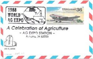 US UXC24  Air Mail Postcard  DC-3, 1938.  Card issued in 1988