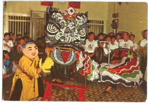 Singapore, A dragon Dance, used Postcard