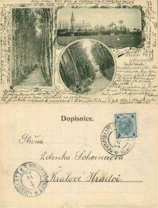 czech, NYMBURKA NYMBURK NIMBURG, Multiview, Panorama with Church (1900) Postcard