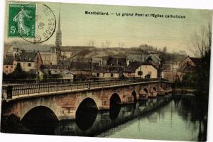 CPA MONTBÉLIARD - Le grand Pont et l'Église catholique (183057)