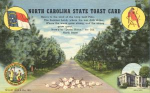 Cardinal - Dogwood - North Carolina State Toast Card - Linen