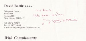 David Battie BBC The Antiques Roadshow Hand Signed Official Compliments Slip