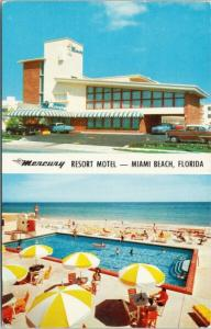 Mercury Resort Motel Miami Beach FL Florida Pool Multiview c1958 Postcard D83