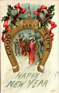 Vintage Postcard Happy New Year Good Luck 1912 Sahner California 1 cent  972