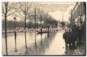 Postcard Old Alfort Flood From January 1910 Rue Des Deux Moulins submerged