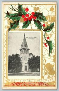 Nora Springs Iowa~Merry Christmas from First Methodist Church~Holly Berry~1910