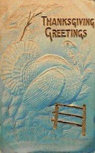 THANKSGIVING GREETINGS-TURKEY-AIR BRUSHED EMBOSSED GILT~1908 POSTCARD