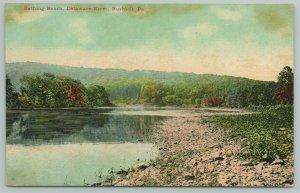 Bushkill Pennsylvania~Delaware River Bathing Beach~c1910 Postcard
