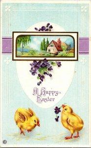 Baby chicks violets pretty cottage deco Easter vtg postcard