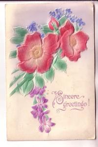 Felt Applique Silkscreen Flowers Greetings, PRT, Made in Austria, Bayswater N...