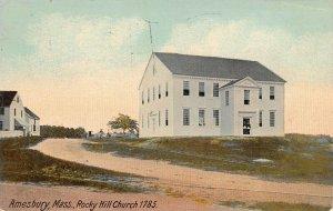 LPS77 Amesbury Massachusetts Rocky Hill Church 1785 Vintage Postcard