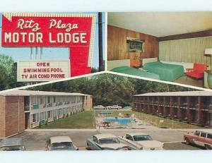 Unused Pre-1980 OLD CARS & RITZ OF ROUTE 40 MOTEL Terre Haute IN s5701@