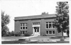 H50/ Mancelona Michigan RPPC Postcard c1950s Library Building  164