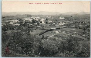 Vintage TONKIN Vietnam Postcard Moncay  Vue de la Ville Red River Delta UNUSED
