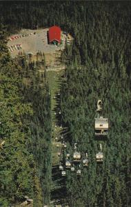 Aerial View, Four Seat Gondola Cars, Sulphur Mountain, BANFF, Alberta, Canada...