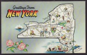 Greetings From New York,Map Postcard