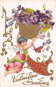 E12/ Valentine's Day Love Postcard c1910 Mansfield Ohio Butterfly Cupid 25