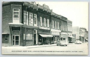 Victor Iowa~Old Farmers Savings Bank~Western Auto Store (Now Amana Appl) 1960s