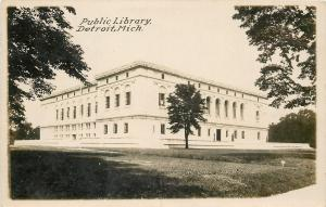 Detroit Michigan~Carnegie Public Library Between Trees~Real Photo Postcard 1920s
