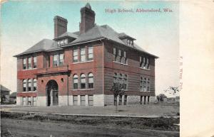 B10/ Abbotsford Wisconsin Wi Postcard 1911 High School Building