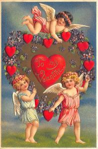 Valentine's Day Greetings  Cupids Arranging Hearts Embossed 1911 Postcard