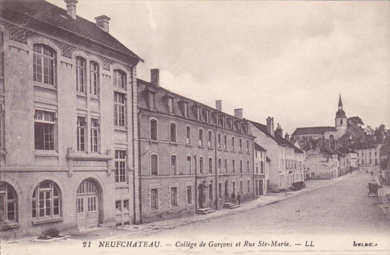 NEUFCHATEAU, Vosges, France, 1900-1910's; College De Garcons Et Rue Ste, Marie