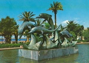 Almeria Dolphin Fish Statue Monument Spanish Postcard