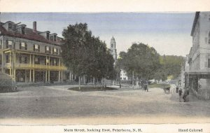 LPS17 Peterboro New Hampshire Main Street looking East Hand Colored Postcard