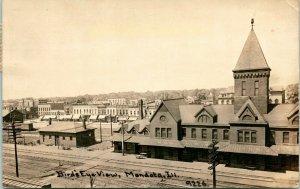 Mendota IL~Birdseye of Railroad Depot & Downtown~Power Poles RPPC 1912 CR Childs
