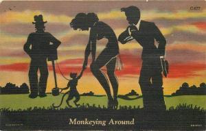 1953 Sexy Pin Up Silhouette Monkey Postcard Teich linen 13352