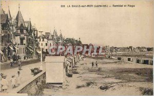 Old Postcard La Baule Loire embankment sea and beach