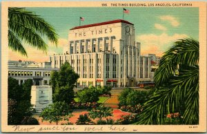Los Angeles California Postcard Times Newspaper Building / Street View Linen