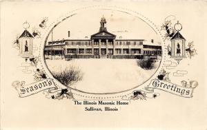 Sullivan Illinois~Illinois Masonic Home~Season's Greetings~Christmas~1930s RPPC