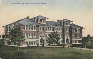 Clay Center Kansas~Clay County High School~1909 Handcolored Postcard