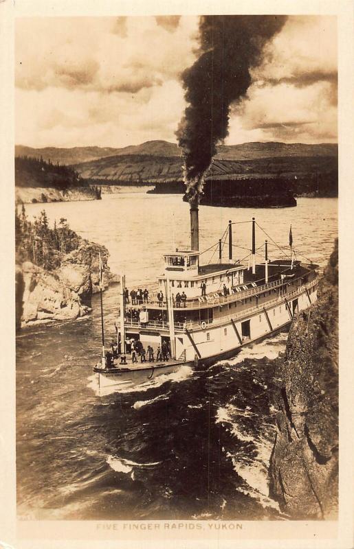 Canada Five Finger Rapids Yukon Boat River real photo Postcard