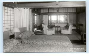 *Japanese Room Maiko Villa Maiko Beach Kobe Japan Vintage Photo Postcard C50