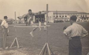 High Jump On Village Green Antique Fete Sports Day Real Photo Postcard