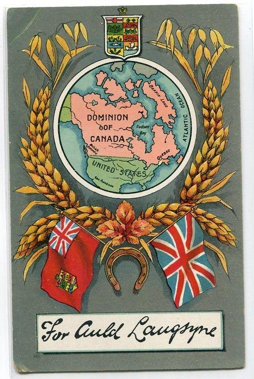 Canadian Auld Langsyne New Year Greetings Canada Map 1910c postcard