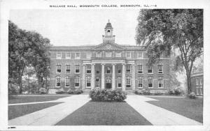 Monmouth Illinois~Monmouth College-Wallace Hall~Blue Tinted Sky~1947 Postcard