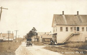 West Enfield ME Street View General Store Old Car in 1913 Real Photo Postcard