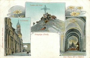 3 Views Of Arequipa Peru Undivided Back Postcard. Catedral, Cumbre Del Misti....