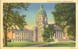 Kansas State Capitol, Topeka, Kansas, unused linen Postcard